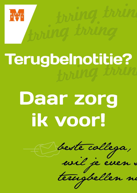 'terugbelnotitie' Poster voor intern gebruik A3 formaat