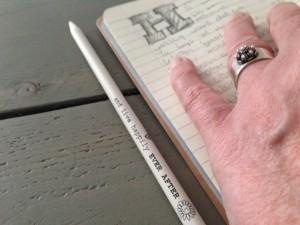 in het klad schrijven