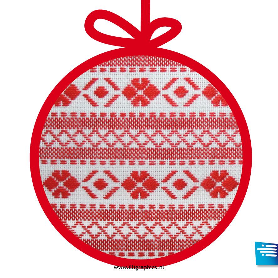 Kerstbal bont rood