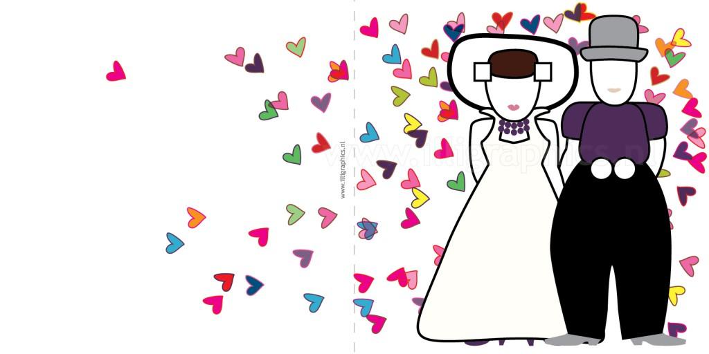 Trouwkaart Zeeuws paars hart