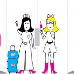 Belettering reiszusters [tekening] voor op glazendeur | deur dicht